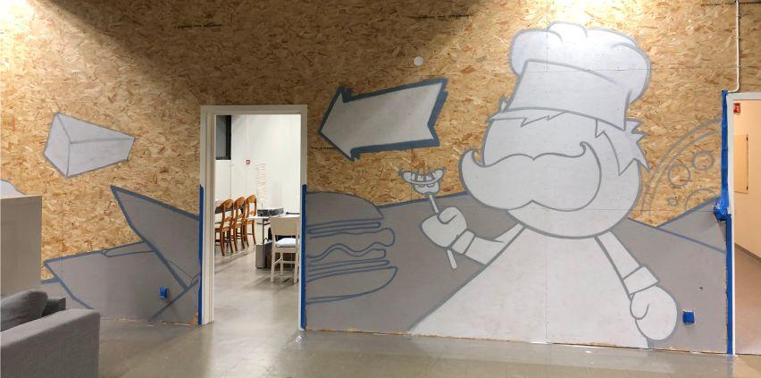 skisse på veggen